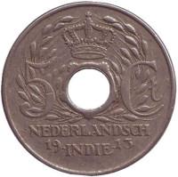 Монета 5 центов. 1913 год, Нидерландская Индия.