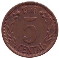 Монета 5 центов. 1936 год, Литва.