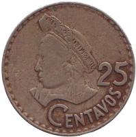 Индианка. Монета 25 сентаво. 1971 год, Гватемала.