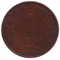 Монета 1 цент. 1904 год, Нидерланды.