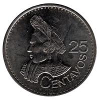Индианка. Монета 25 сентаво. 2012 год, Гватемала.