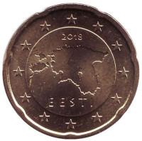 Монета 20 центов. 2018 год, Эстония.