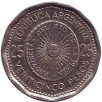 Монета 25 песо. 1964 год, Аргентина.