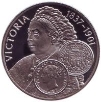 Королева Великобритании Виктория. Монета 50 пенсов. 2001 год, Фолклендские острова.