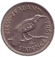Гуйя. Монета 6 пенсов. 1964 год, Новая Зеландия.