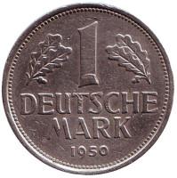 Монета 1 марка. 1950 год (F), ФРГ.