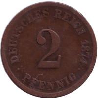 Монета 2 пфеннига. 1874 год (G), Германская империя.