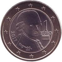 Моцарт. Монета 1 евро, 2017 год, Австрия.