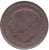 Теодор Хойс. Монета 2 марки. 1978 год (D), ФРГ. Из обращения.