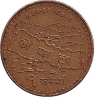 Монета 1 рупия. 2009 год, Непал.
