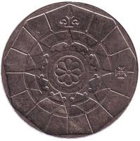 Роза ветров. Монета 20 эскудо. 1999 год, Португалия.