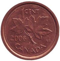 Монета 1 цент, 2006 год, Канада. (Немагнитная. Без отметки монетного двора)