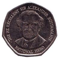 Александр Бустаманте - национальный герой Ямайки. Монета 1 доллар. 1996 год, Ямайка.