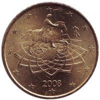Монета 50 центов. 2008 год, Италия.
