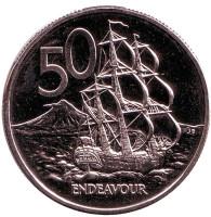 """Парусник """"Endeavour"""". Монета 50 центов, 1983 год, Новая Зеландия. BU."""