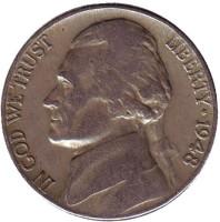 Джефферсон. Монтичелло. Монета 5 центов. 1948 год, США.
