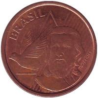 Тирадентис. Монета 5 сентаво. 2013 год, Бразилия.