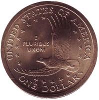 """Сакагавея (Парящий орел), серия """"Коренные американцы"""". 1 доллар, 2005 год (D), США."""