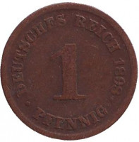 Монета 1 пфенниг. 1898 год (D), Германская империя.