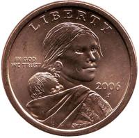 """Сакагавея (Парящий орел), серия """"Коренные американцы"""". 1 доллар, 2006 год (P), США."""