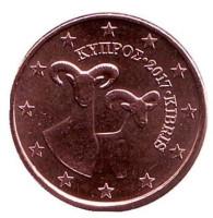 Монета 1 цент. 2017 год, Кипр.