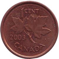 Монета 1 цент. 2003 год, Канада. (Старый тип, Магнитная)
