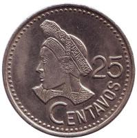 Индианка. Монета 25 сентаво. 1986 год, Гватемала.