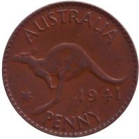 """Кенгуру. Монета 1 пенни. 1941 год, Австралия. (Точка после """"PENNY"""")"""