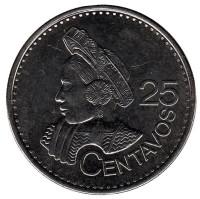 Индианка. Монета 25 сентаво. 2016 год, Гватемала.