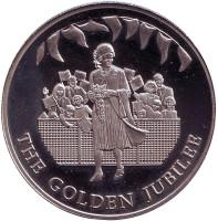 50 лет правлению Королевы Елизаветы II. Торжество. Монета 50 пенсов. 2002 год, Фолклендские острова.