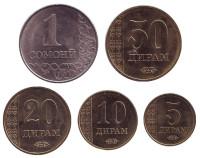 Набор монет Таджикистана (5 шт.) 2017 год, Таджикистан.