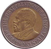 Джомо Кениата - первый президент Кении. Монета 20 шиллингов, 2005 год, Кения. Из обращения.