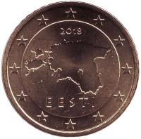Монета 50 центов. 2018 год, Эстония.