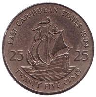 """Галеон """"Золотая лань"""" сэра Френсиса Дрейка. Монета 25 центов. 1994 год, Восточно-Карибские государства."""