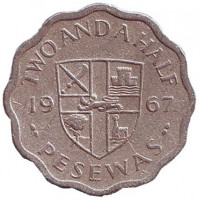 Монета 2,5 песевы. 1967 год, Гана.