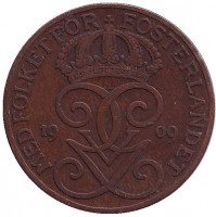Монета 5 эре. 1909 год, Швеция. (малый крест)