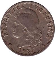 Монета 20 сентаво. 1937 год, Аргентина.