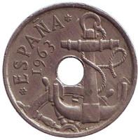 Монета 50 сантимов. 1965 год, Испания.