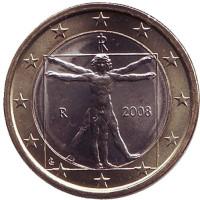 Монета 1 евро, 2008 год, Италия.