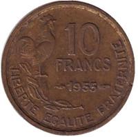 10 франков. 1955 год, Франция.