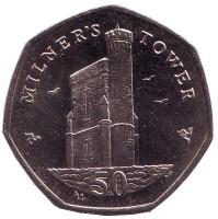 Башня Милнера. Монета 50 пенсов. 2015 год, Остров Мэн. (AA)