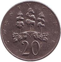 Монета 20 центов. 1988 год, Ямайка.
