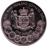 50 лет чеканке монет Новой Зеландии. Монета 1 доллар. 1983 год, Новая Зеландия.
