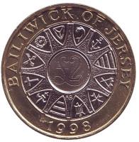 Монета 2 фунта. 1998 год, Джерси.