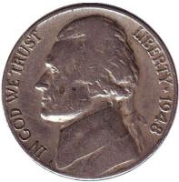 Джефферсон. Монтичелло. Монета 5 центов. 1948 год (D), США.