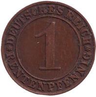 Монета 1 рентенпфенниг. 1923 год (J), Веймарская республика.