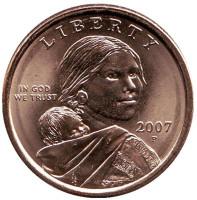 """Сакагавея (Парящий орел), серия """"Коренные американцы"""". 1 доллар, 2007 год (P), США."""