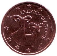 Монета 2 цента. 2017 год, Кипр.