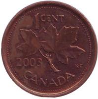 Монета 1 цент. 2003 год, Канада. (Новый тип, Немагнитная)