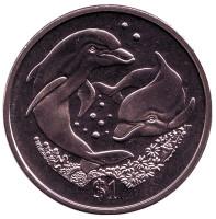 Дельфины. Монета 1 доллар, 2006 год, Британские Виргинские острова.